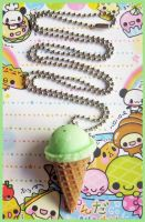 Mint Ice Cream Cone Necklace by cherryboop