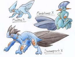 Mudkip Evolution Series X by CelestialTentails