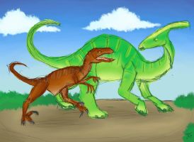 Velociraptor and Parasaurolophus by Katy133