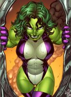 She Hulk Clrs by Nei Ruffino by CdubbArt