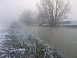 River with snow and fog 02 by Simbores