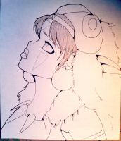 Princess Mononoke LineArt by AddyinWonderland