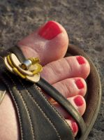 Red Toes Close Up at Sundown by Feetatjoes