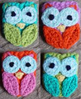 4 Crochet Owls by meekssandygirl