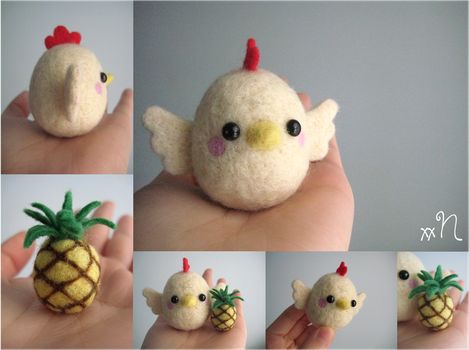 Felted Chicken And Pineapple by xxNostalgic