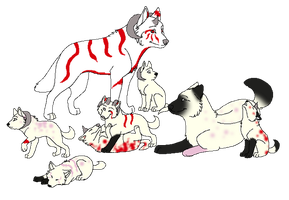 2 puppie left by Albtraums-Adopts