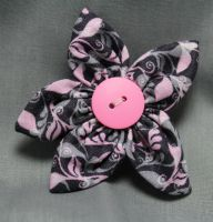 Pink and Grey Fabric Flower Hair Barrette by jenlucreations