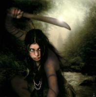 Native with machete by realdarkwave