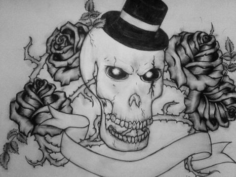 skull ,roses and thorns by I-am-just-bored