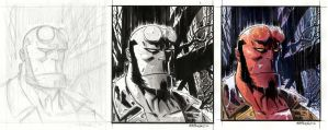 Hellboy Portrait 2012-steps by BillReinhold