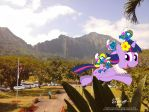 Twilight Sparkle and the Wahine Smurfs by NewportMuse