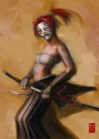 Sketch: Samurai Redhaired Girl by Tommi-75