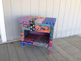 Boho patchwork nightstand. Hand painted! by Moonlight-Arts
