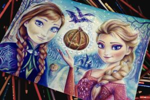 Anna and Elsa ( Halloween) WIP by Alena-Koshkar