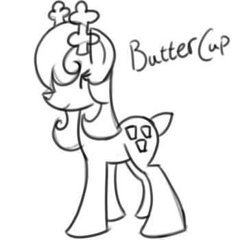 Doodled/Sketchy  Buttercup {My Lovely Deer Pony} by MissSeddieSunshine