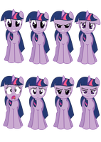 Faces of Twilight Sparkle (Vectors) by Kdogfour