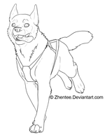 Sled Dog +free line art+ by Zhentee