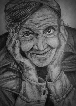 Old woman drawing by OrnellaArts