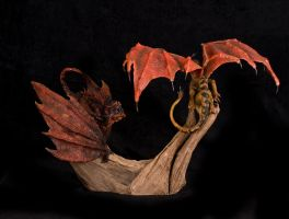Fight or Flight Dragon Sculpture 2 by RavendarkCreations