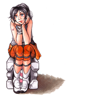 Chell and Companion Cube by ChibiTaryn
