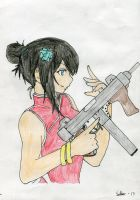 Girl with gun in a chinese dress *Coloring by SebbeScarlet
