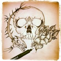 skull and roses by Mymy-La-Patate