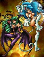 Darkstalkers :: Morrigan and Felicia (2010) by makiyan