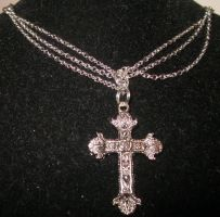 Vampire Cross Necklace Close Up by undeadxsiren