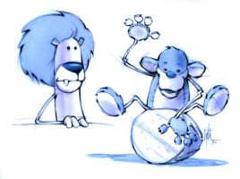 Lion and Monkey Puppets by Eyth