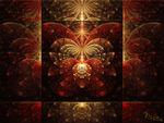 Red and Gold Butterfly Tile by Nis86