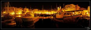 Bastia's port at night by floflo