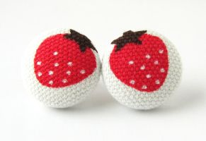 Strawberry earrings by KooKooCraft
