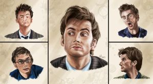 David Tennant/ 10th Doctor Face Study 2 by EerieStir