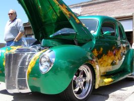 Green Ford De Luxe with Flames by Nerdiphied