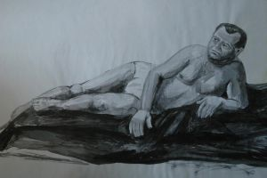 Nude Male, 70x50 cm Indian Ink on Paper, 23.02.200 by n