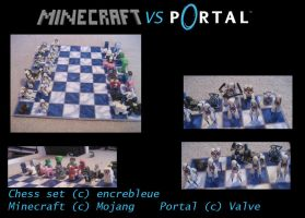 Minecraft vs. Portal Chess Set by encrebleue