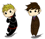 Master and Doctor chibis by caycowa