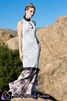 Floral Jersey Mermaid Gown by DaisyViktoria