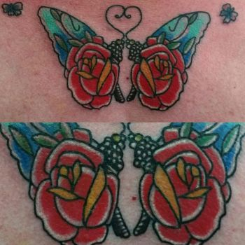 butterfly roses tattoo by thirteen7s