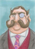 Mustached Monocle Man  ATC by tursiart