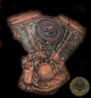 Harley engine Color by 2Face-Tattoo