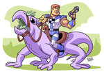 Man with a Gun Riding a Lizard by BezerroBizarro