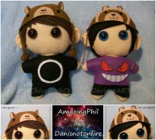 Amazingphil and Danisnotonfire chibi plushies by ChloeRockChick14