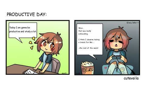 Productive DAY comic by cuteVeila