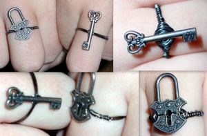Lock And Key Ring Set by RaheHeul