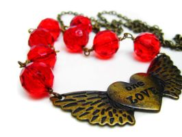 Angel Wing with Heart Necklace by pila12903