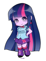 Equestria Girl Twilight chibi comm by chocone