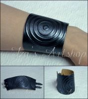 Charcoal gray leather cuff by izasartshop