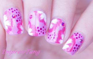 Pink and White Flowers one stroke by EmpressTang