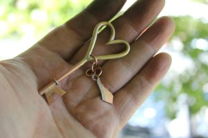 Copper Brass Key with Charm by connerchristopher